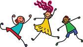 Šťastné děti v různých polohách