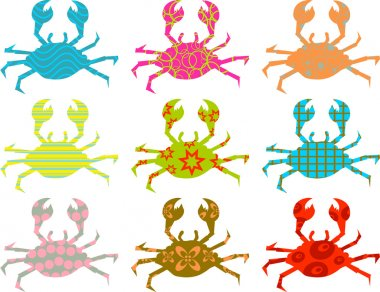 Set of patterned crab silhouettes