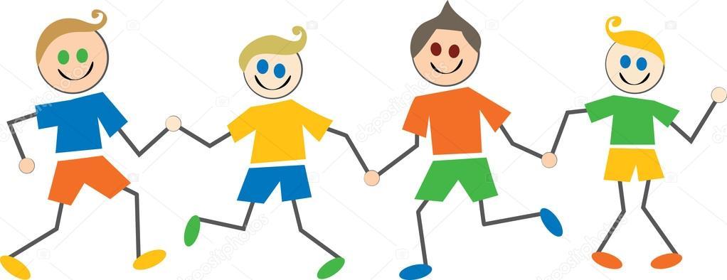 Feliz Personas Exitosas En Caricaturas: Niños Felices Caricaturas