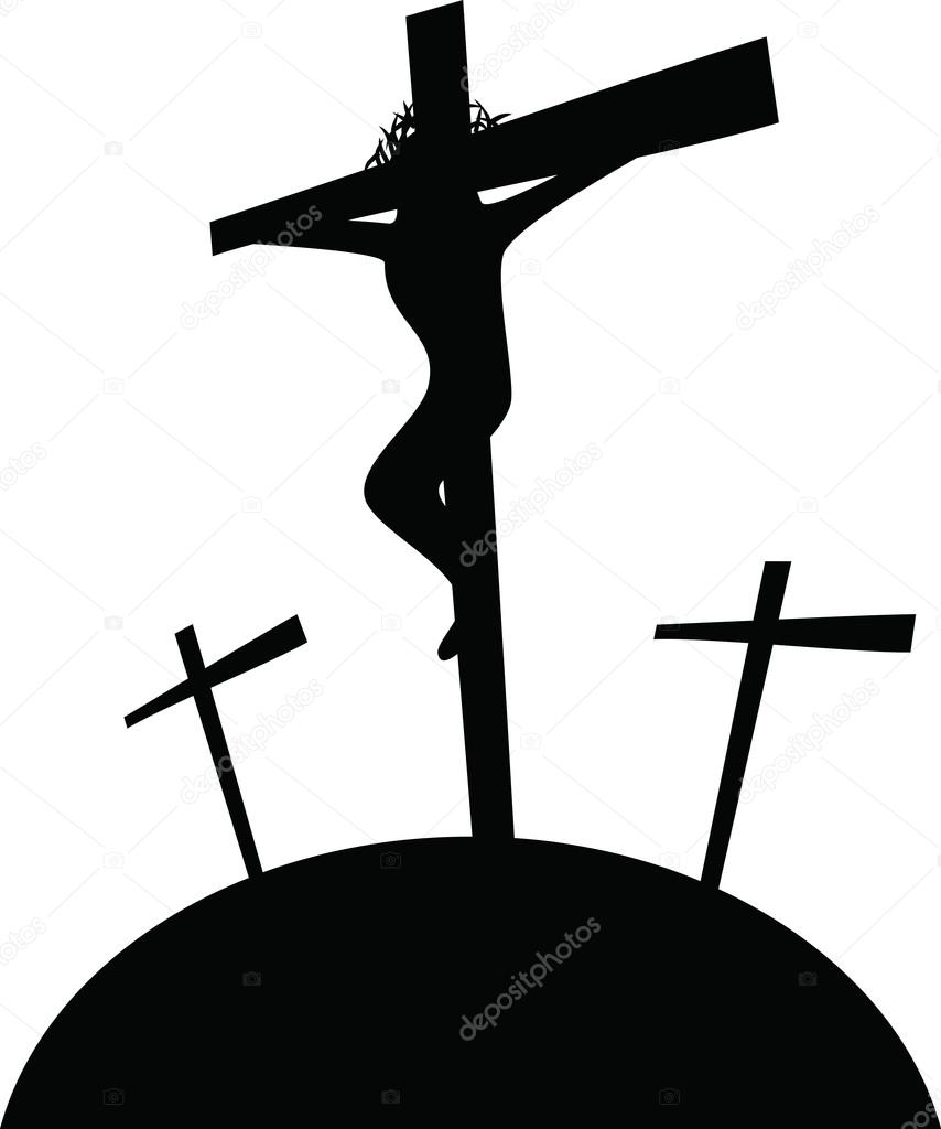 jesus christ hanging on the cross u2014 stock vector prawny 64289039