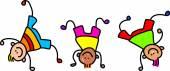 kreslená postava šťastné děti hrají