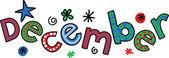 Textové doodle pro měsíc prosinec
