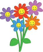 Květiny s šťastné úsměvy