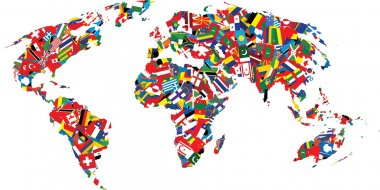 Map of the world made up of flags