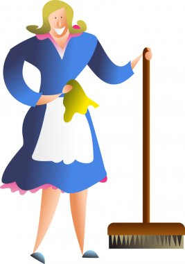 Cartoon of housewife with cleaning equipment.