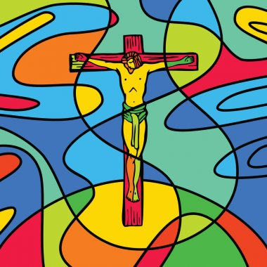 Stained glass effect cross of calvary