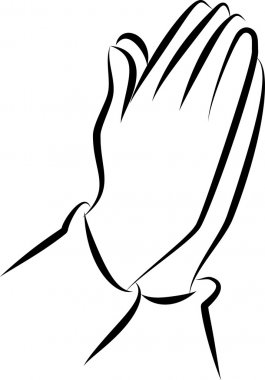 Drawing of praying hands