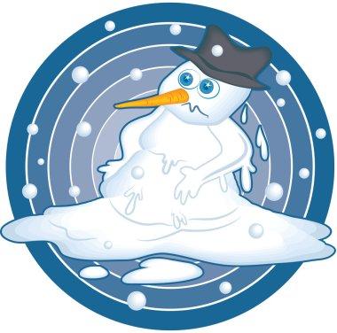 Illustration of a melting snowman.