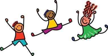 Happy children in different positions