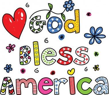 God Bless America cartoon on white background, vector stock vector