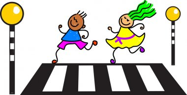 Kids on zebra crossing road