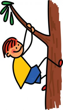 Boy Climbing on a Tree