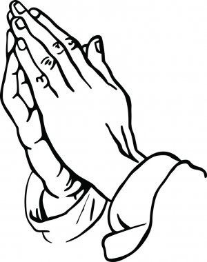 Illustration of a pair of human hands in prayer. stock vector