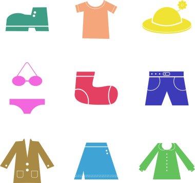 Clothing icons set, shopping elements
