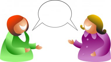 Women talking and sharing speech-bubble