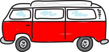 Funny  cartoon camper van.
