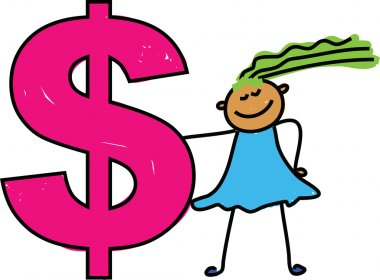 Girl and Dollar money sign