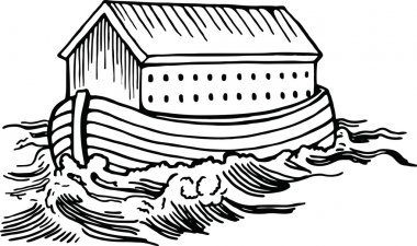 Noah's ark floating on the flood waters.