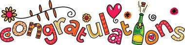 Cartoon doodle congratulations text expression