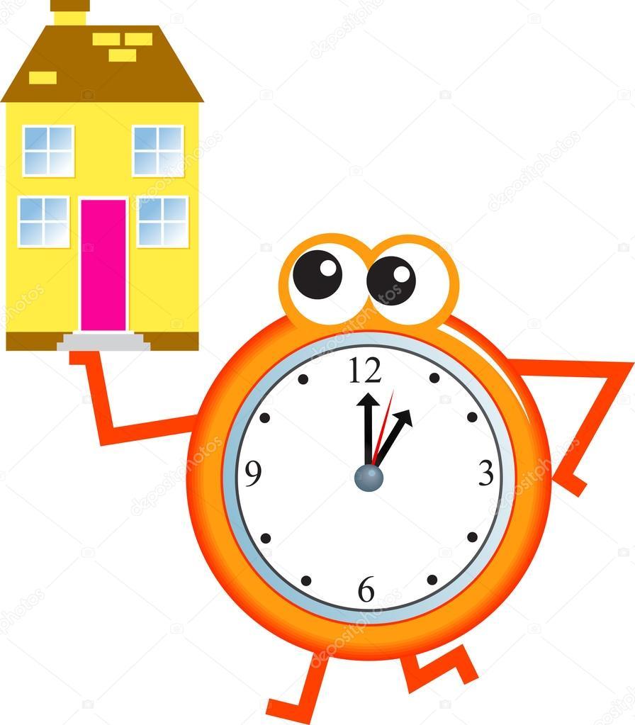 home time clock stock vector prawny 64290485