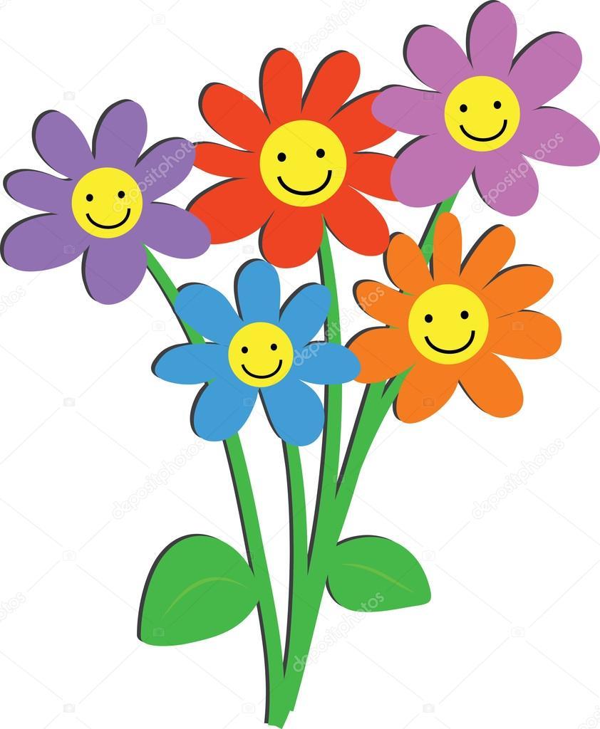 blumen mit glücklich lächelnde gesichter — stockvektor