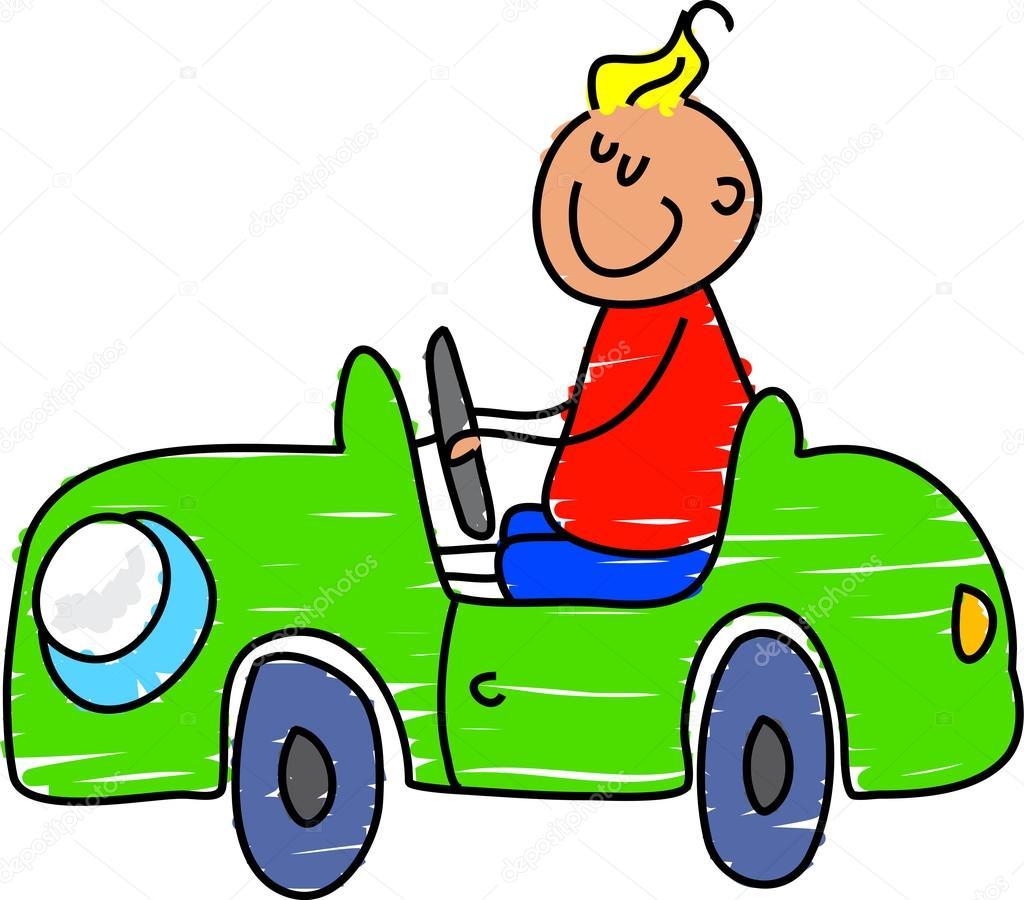 Clipart Little Boy Driving Car