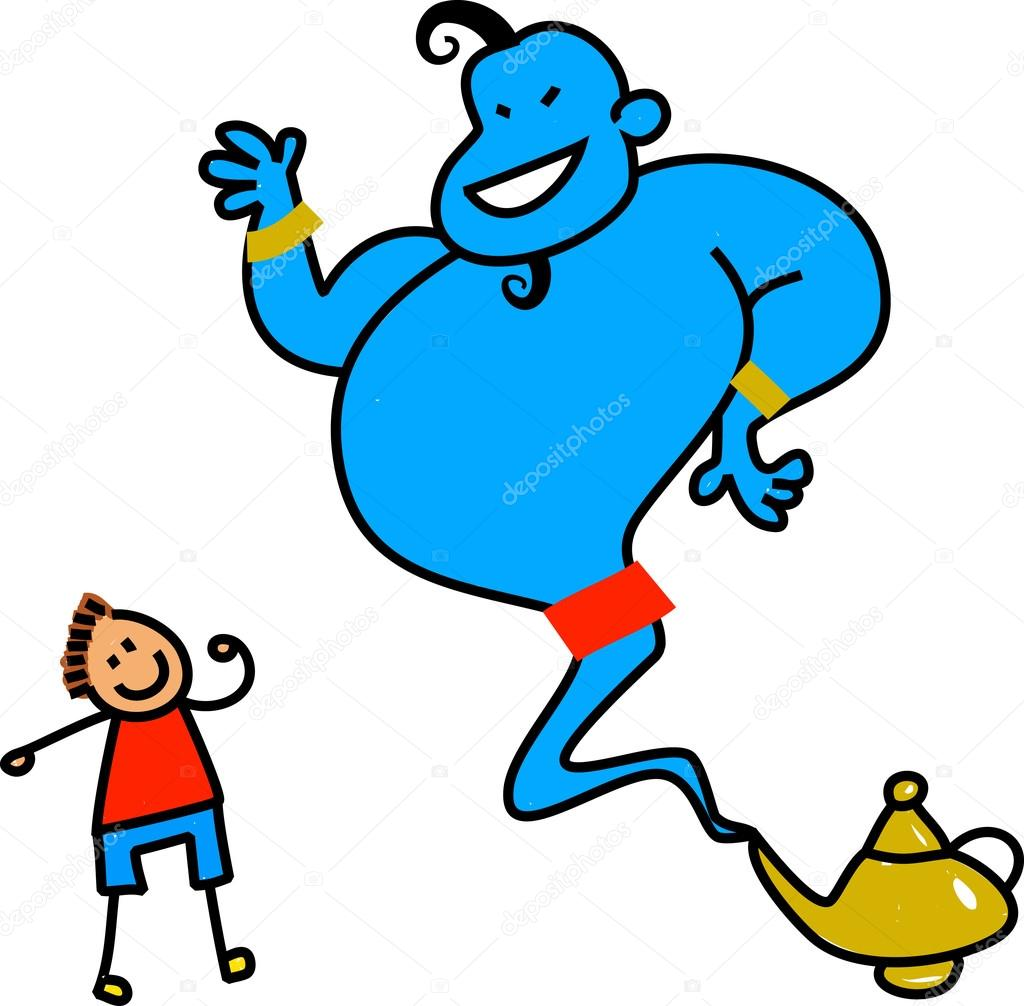 Genie coming out of a magic lamp — Stock Vector © Prawny #64296043 for genie coming out of lamp aladdin  11lplpg
