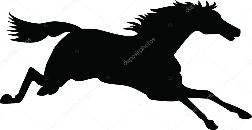 Running Horse Silhouette Black Vector Outline On White Premium Vector In Adobe Illustrator Ai Ai Format Encapsulated Postscript Eps Eps Format