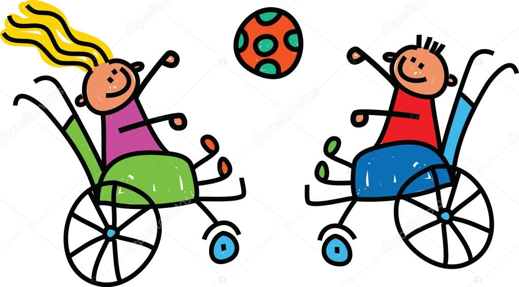 Vector silla de ruedas dibujada dos ni os jugando con la bola en silla de ruedas vector de - Silla de ruedas ninos ...