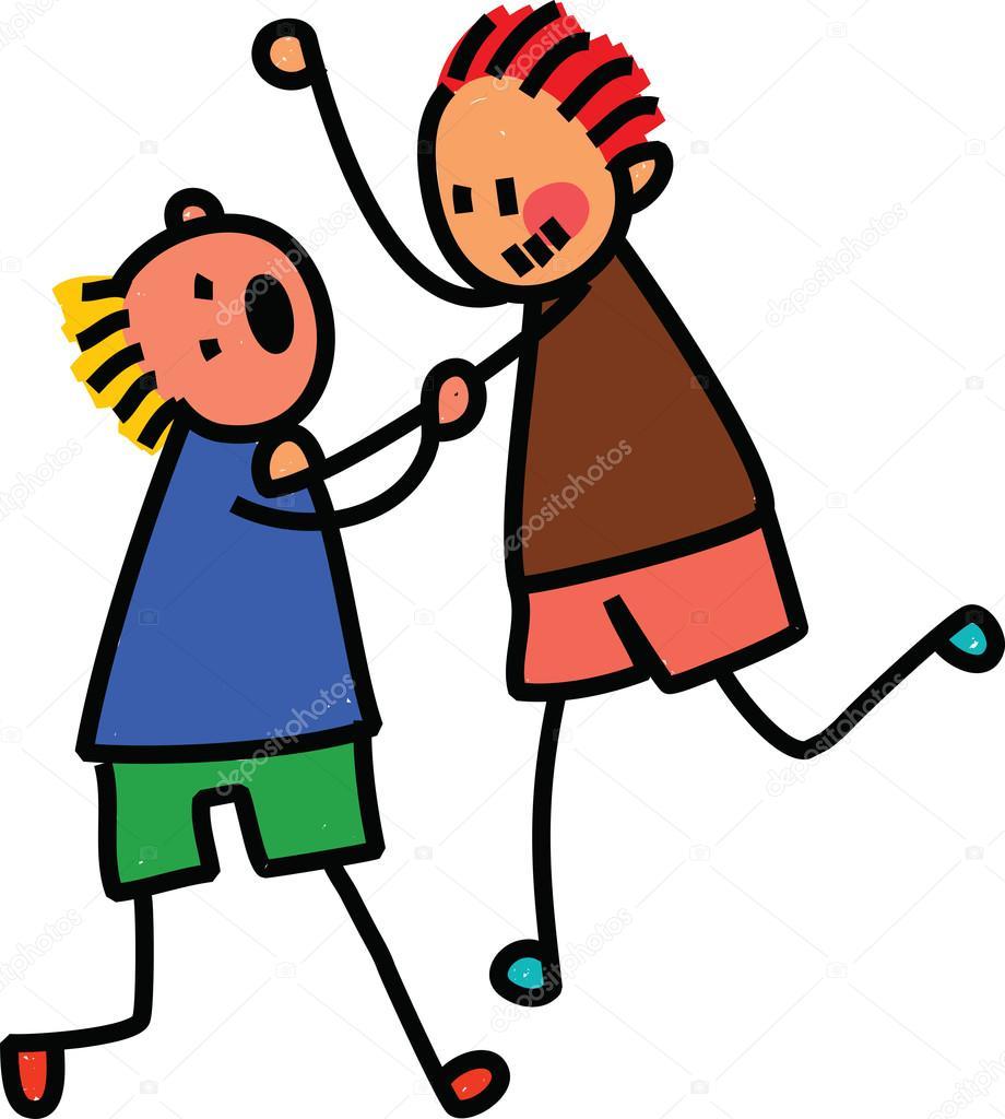 Imágenes Niños Peleando Dibujo Dos Niños Peleando Vector De