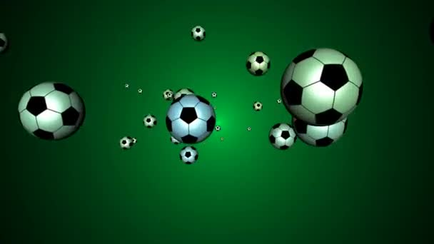 3d soccer balls flying fast towards the viewer