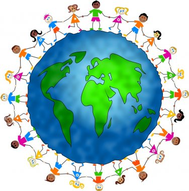 Kids around world globe