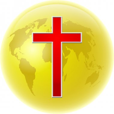 Cross and gold earth peace and love