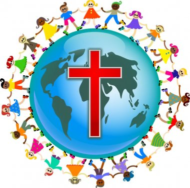 Christianity and world surrounded by a ring of kids
