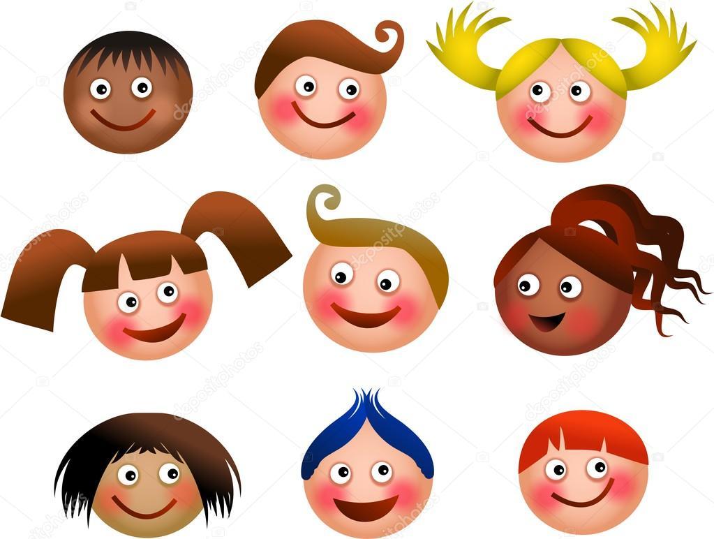Dibujos Caras De Niños Felices Animadas: Grupo De Caras De Niños Felices
