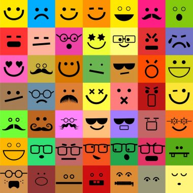 Square shaped emoticon faces