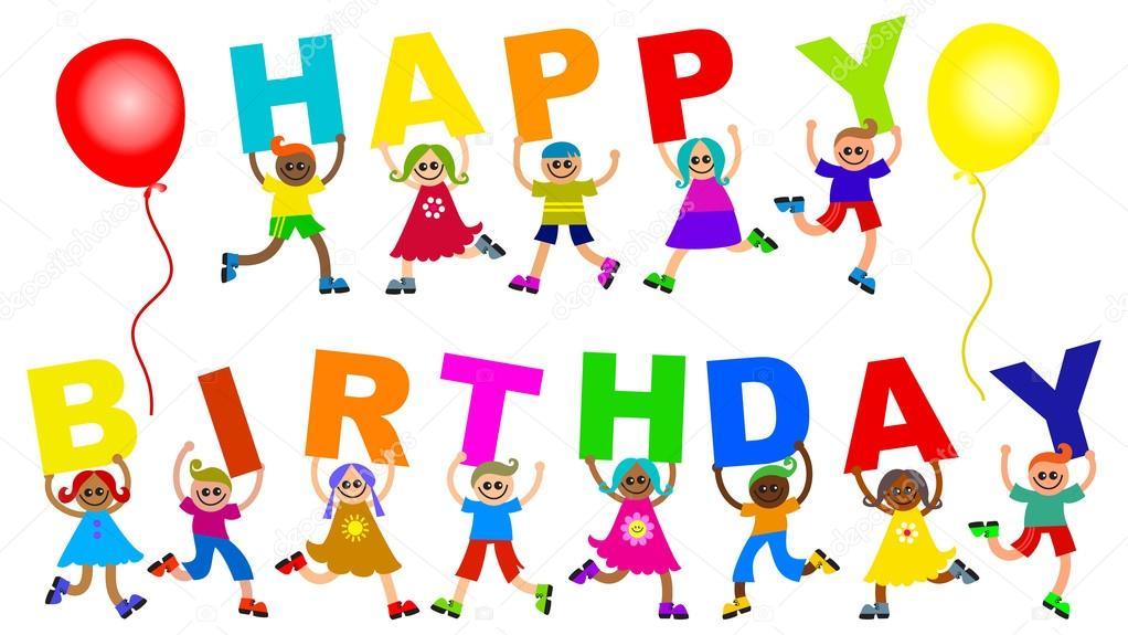 Children Holding Happy Birthday Words Stock Vector C Prawny 68382837