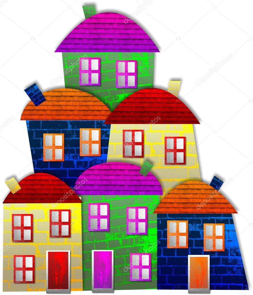 uma aldeia dos desenhos animados com casas coloridas fotografias