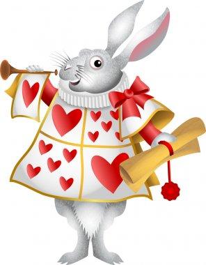Cartoon illustration of the white rabbit from Alice in Wonderland. stock vector