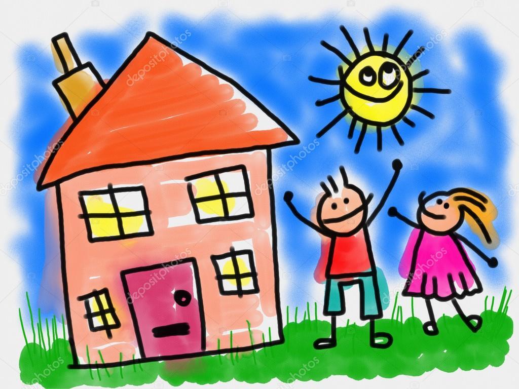 Dibujos animados ni os luego su hogar foto de stock for Cosas de hogar