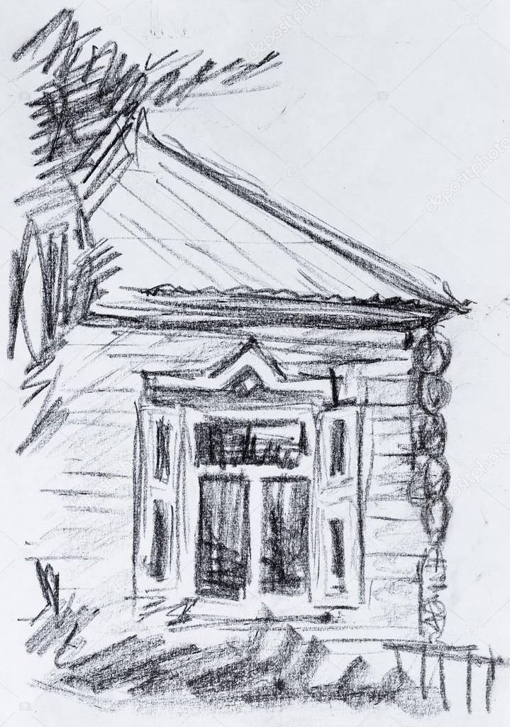 Old Cottage Pencil Drawing Stock Photo C Kolodochka 64375401