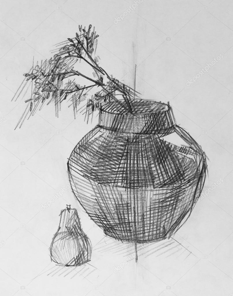 Vase Und Blumen Bleistiftzeichnung Stockfoto Kolodochka 70104089