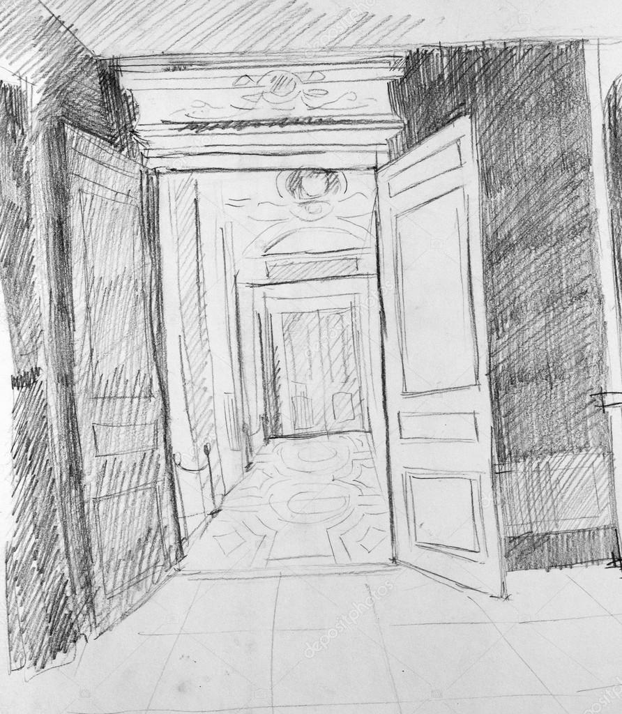 Door pencil drawing - Door In Gallery Pencil Sketch Photo By Kolodochka