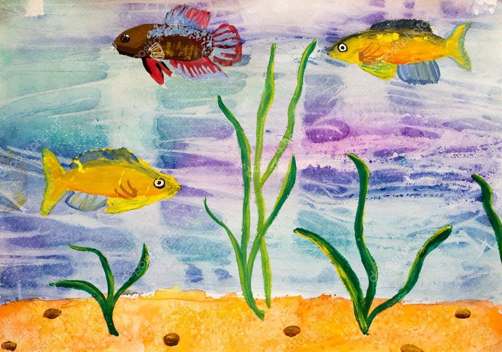 название рисунок рыб в аквариуме красками это