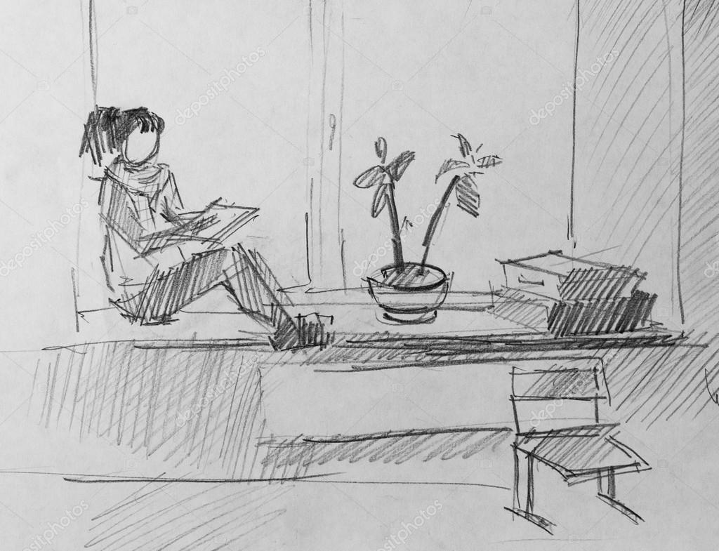 Mädchen am Fenster, Skizze der Bleistift — Stockfoto ...