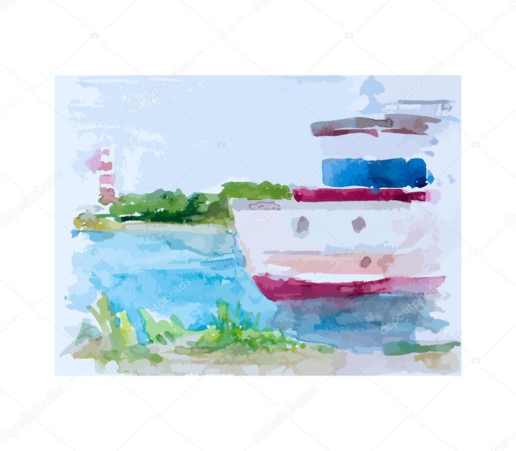 Ship at sea, vector illustration