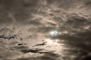 Dark foreboding sky at height of solar eclipse