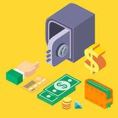 sada 3D Izometrické bezpečné: peníze, credir karta, diamant, vektor. Ploché