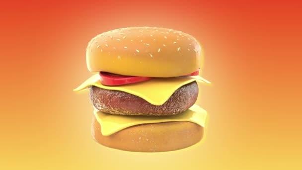 Chutné a lákavé rotující hamburger cheeseburger 3d s alfa chanel