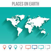 World Map with Pins, Flat Design Vector Illustration